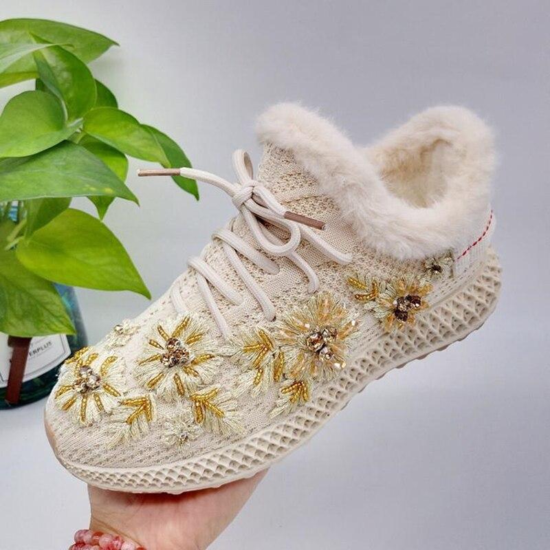 Hiver tricot décontracté chaussures pour femmes 2019 nouveau brodé couleur correspondant fleurs avant cravate mode confortable chaud coton chaussures