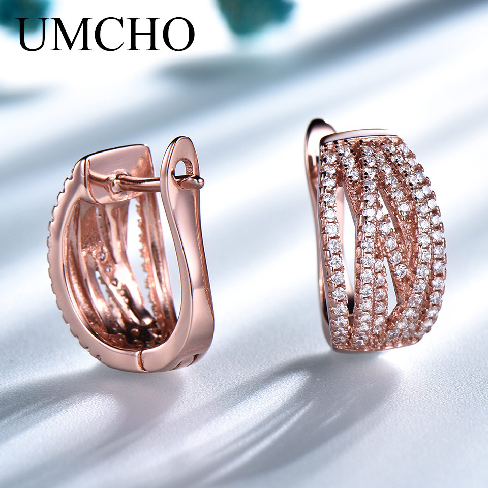 UMCHO Solid 925 Sterling Silver Rose Gold Color Elegant Clip Earrings For Women Anniversary Wedding Gift Earrings Fine Jewelry