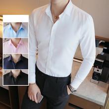 Nowy twarzowy facet 2020 Tuxedo jednolity kolor koszula z długim rękawem mężczyźni Slim Fit poślubić sukienka klasyczne białe koszule 4XL wysokiej jakości tanie tanio Poliester Tuxedo koszule Pełna Plac collar Pojedyncze piersi REGULAR Men Shirt Suknem Smart Casual Stałe Shirts White Black Blue Pink Nav