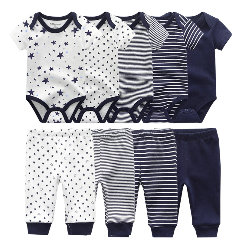 6/9PCS Baby Girl Clothes Newborn Unisex Solid Bodysuits+Pants Cotton Baby Boy Clothes Short Sleeve Girls Baby Clothing Cartoon