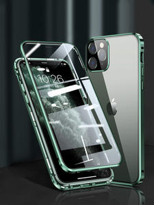 Square Edge Metal Bumper Double Sided Glass Case For iPhone 11 Pro Max 12 x xr xs max