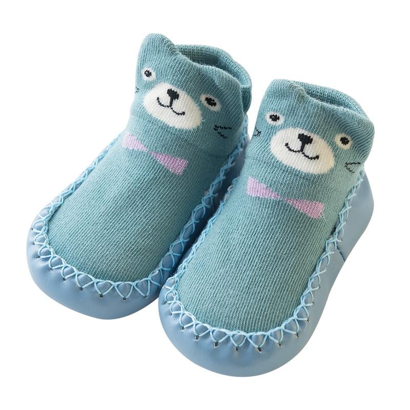 Cute Bear Girls Baby Socks Shoes Infant Toddler Boyshoe Casual Kid First Walkers Prewalkers Warm Bed Floor Walking Home Footwear
