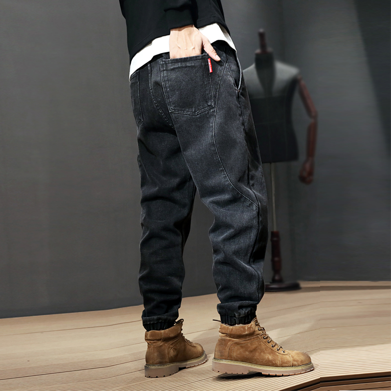 Fashion Streetwear Men Jeans Loose Fit Spliced Designer Harem Jeans Men Cargo Pants Japanese Style Hip Hop Joggers Jeans Homme