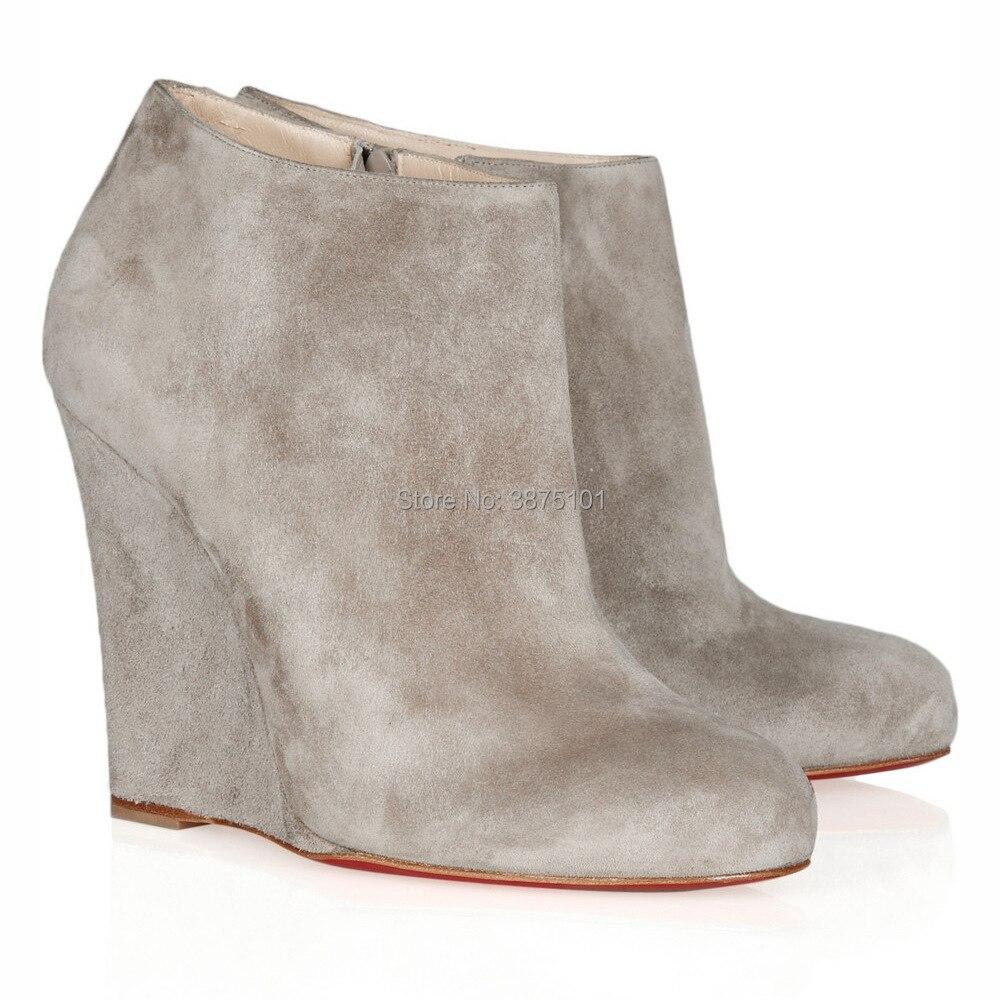 Пикантные ботинки с острым носком; зимние женские ботильоны на танкетке; серая обувь на платформе и высоком каблуке; женская обувь; Bota Feminina