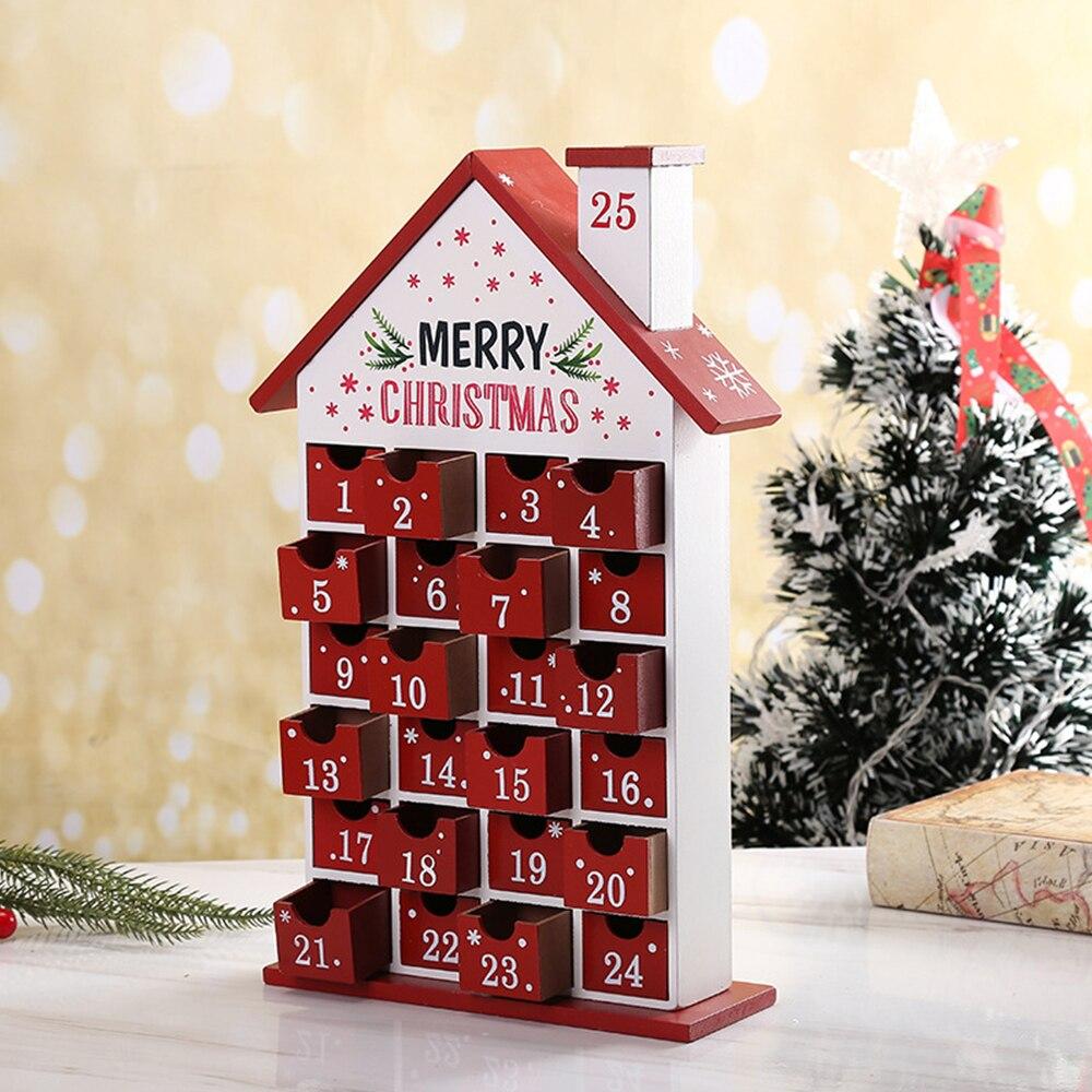 Christmas Wooden Calendar Decoration Ornaments DIY Wooden Calendar Cabinet Christmas Advent Calendar Advent Calendar Toy