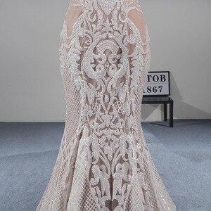 Image 5 - MTOB הכי חדש תחרת בת ים חתונת שמלת Applique עמוק מתוקה ללא משענת שמפניה כלה שמלות