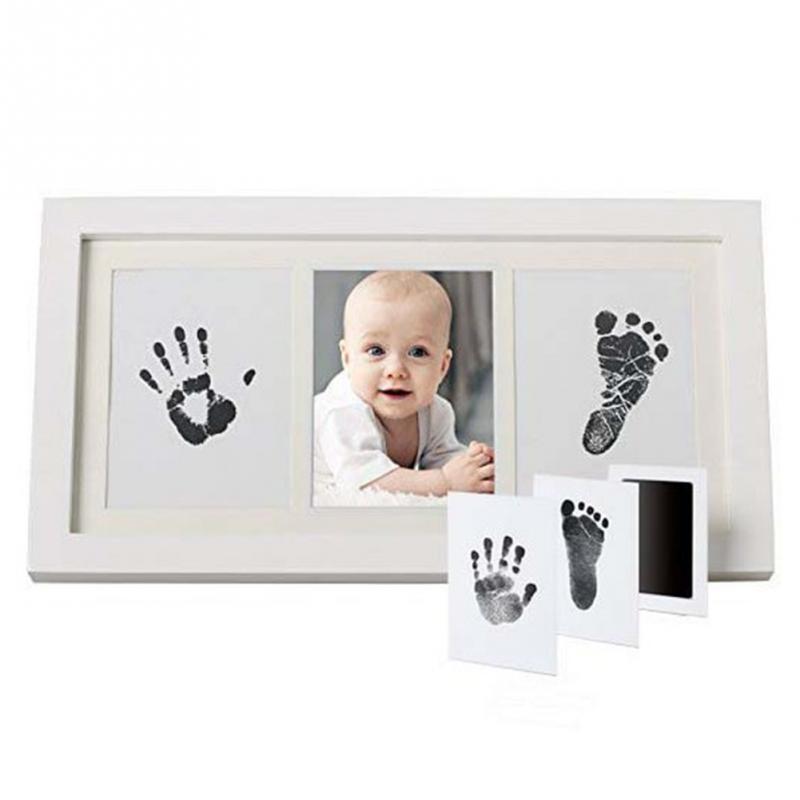 Baby DIY Footprint Square Standing Handprint Memory Book Photo Frame Gift