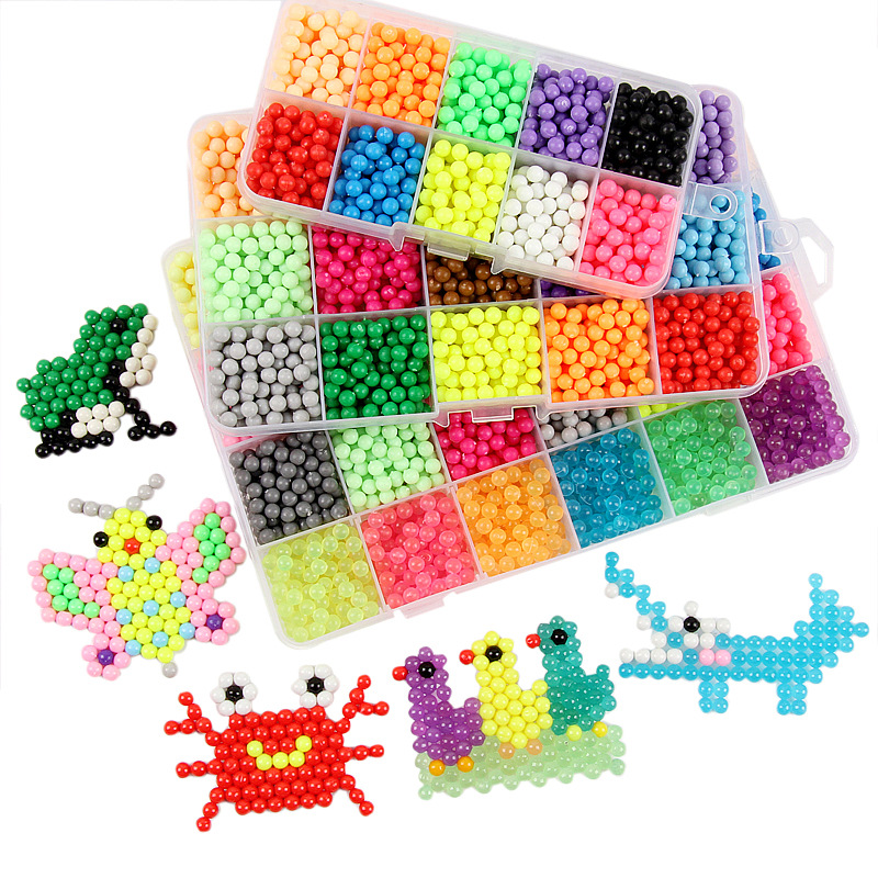 DIY Water Mist Bead Set Crafts For Kids Multicolor Beads Children Puzzle Creative Water Mist Magic Sticky Beads Toys Girls Gift