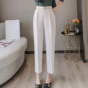 Женские брюки с высокой талией Colorfaith, элегантные офисные брюки до щиколотки с поясом, 2019
