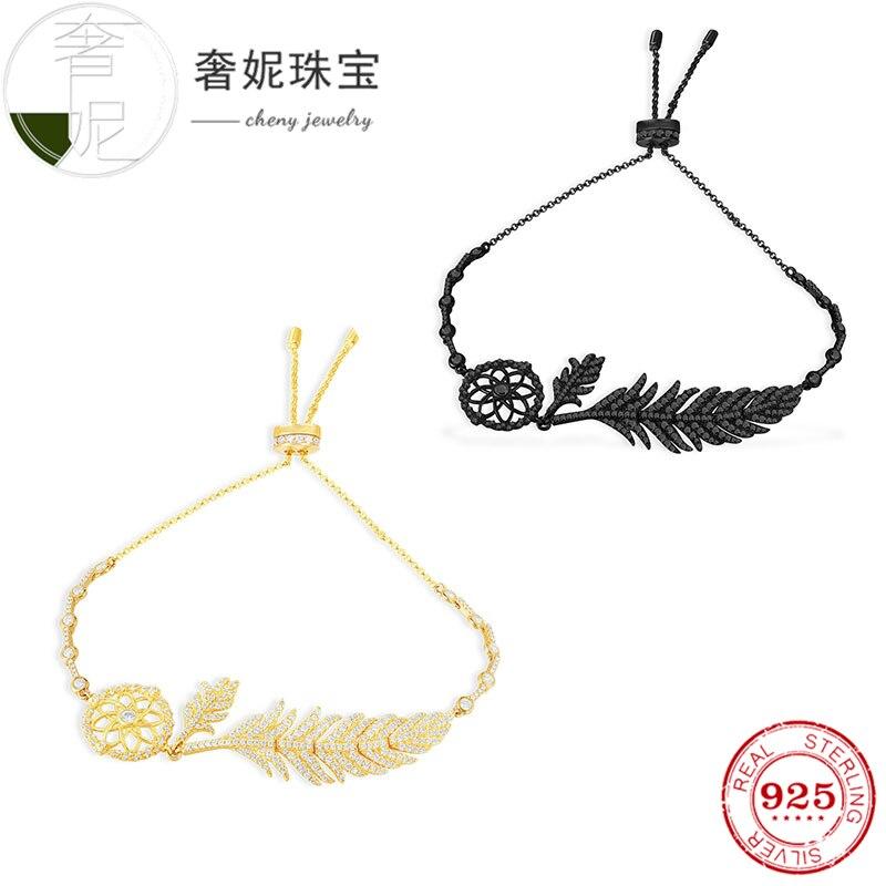 Cheny fit s925 bracelet en argent sterling couleur or noir bracelet feuilles forme avec cristal mode luxe décoration pour les femmes