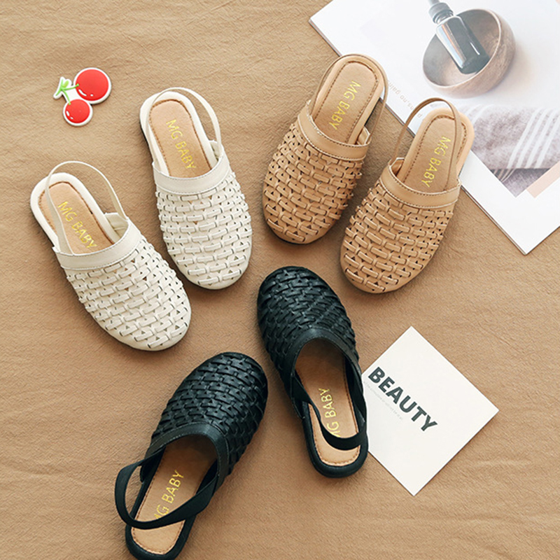 Summer Girls Rome PU Leather Sandal Baby Girl Kids Shoes Princess Vintage Woven Children's Beach Shoes Breathable Light Slippers