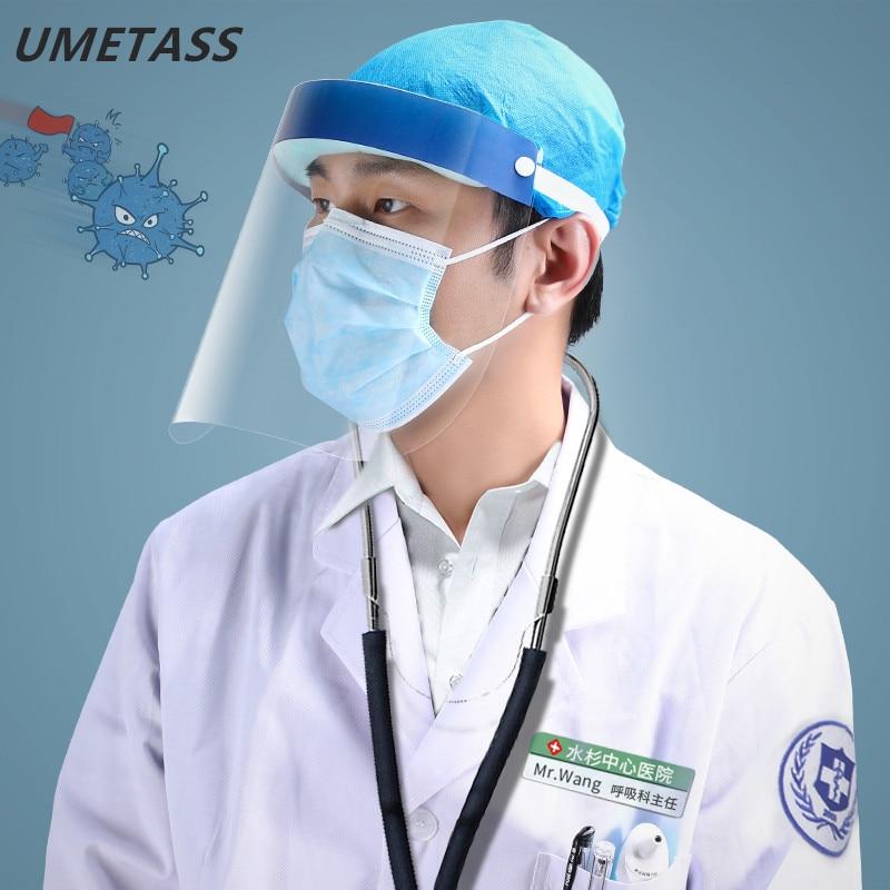 Protective Full Face Shield Clear Plastic Anti-Virus Face Mask Anti-fog Anti-Oil Splatter Masks 10PCS/lot