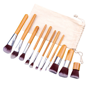 Image 4 - 11PCs Natural Bamboo Makeup Brushes Set High Quality Foundation Blending Women Beauty Cosmetic Make Up Tool Set With Cotton Bag