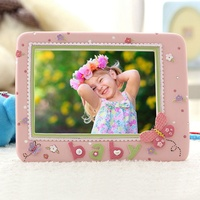 European Pink Lace With Cartoon Butterfly Baby Signs Home Tabletop Decor 7x5 inches Baby's Resin Picture Photo Frame
