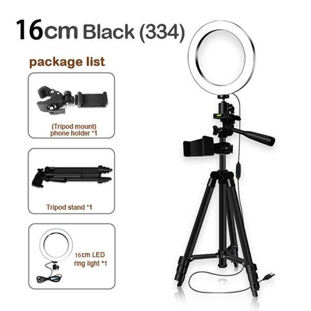 16cm גובה מתכוונן צילום טלפון מחזיק Led חצובה Stand אנטי להחליק Selfie טבעת אור סט בהיר שידור חי איפור