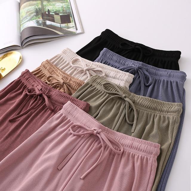 2021 New Women's Loose Summer Pants Soft Ice Silk Ankle-Length Wide Leg Pants Grey Khaki Women High Waisted long Trousers 1