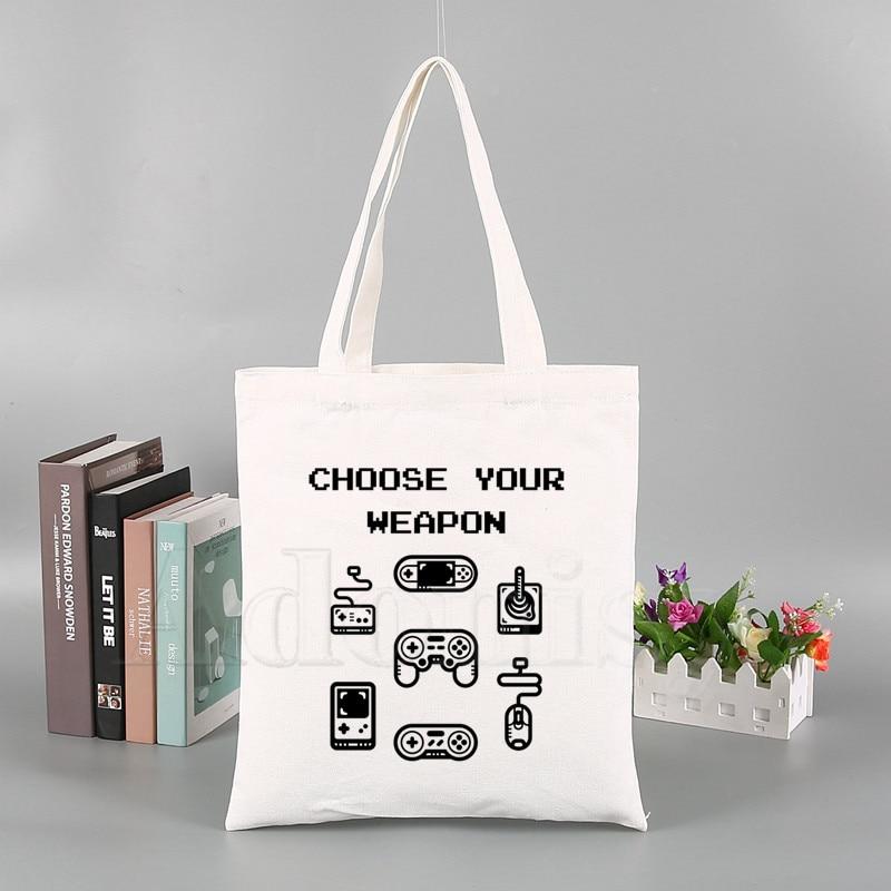 Choose Your Weapon Fashion Canvas Bag Women Simple Large Capacity Storage Handbag Shoulder Bag Tote Reusable Student Bookbag