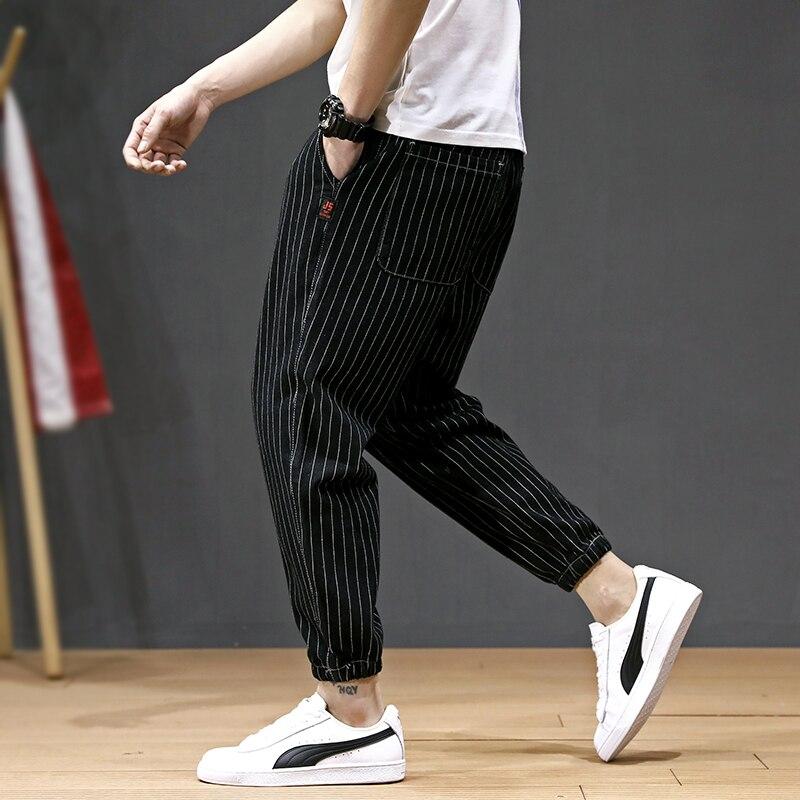 Fashion Streetwear Men Jeans Casual Leisure Stripe Harem Pants Slack Bottom Cargo Pants Big Size 28-42 Hip Hop Joggers Pants Men