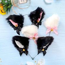 Bonito senhora menina raposa orelhas de gato bandana moda acessórios para o cabelo peludo clipe de cabelo sino encantador noite parte cosplay clube barra
