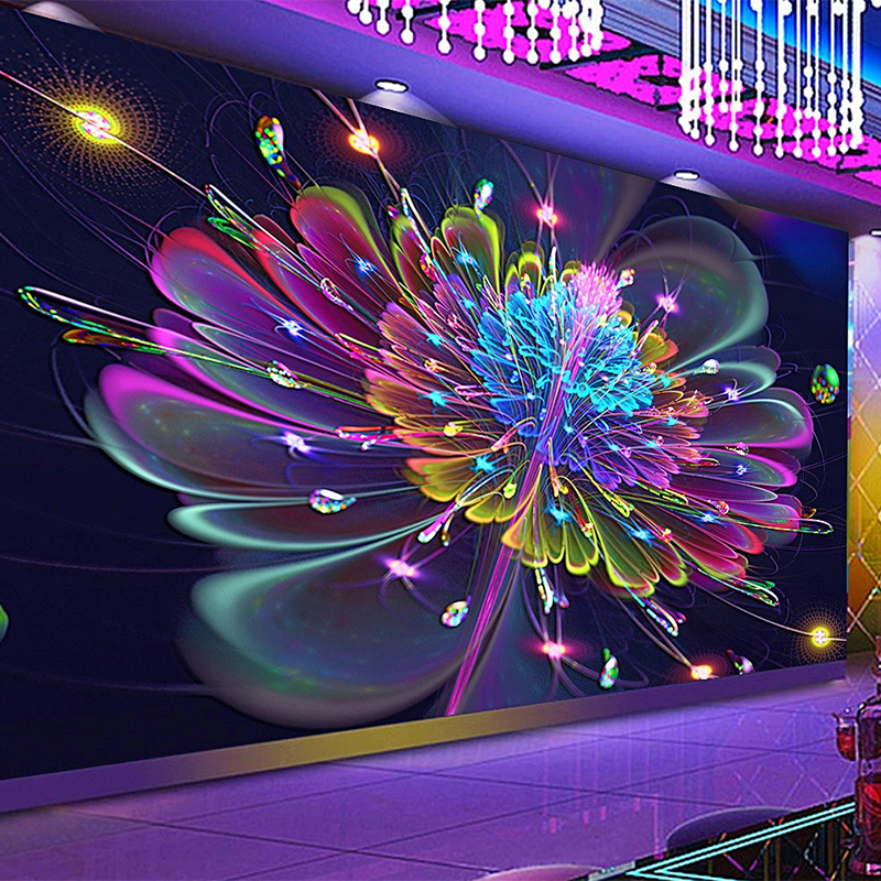 Custom Any Size Mural Wallpaper Modern Abstract Art Flowers Wallpaper 3D Colorful Bar KTV Background Wall Papers Papel De Parede