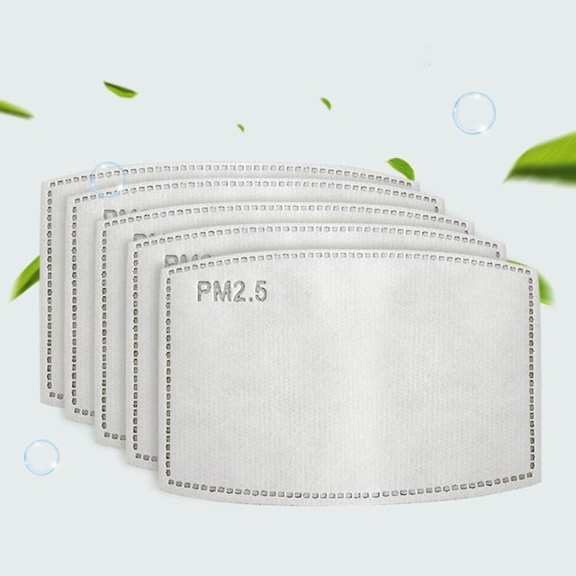 50PCS PM2.5 Filter 5 Layers Protective Mask for Adult Mask Mask Pads Activated Carbon Mask Filter Man and Woman 50pcs / Ba 5