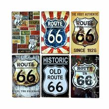 Rota 66 sinais decoração retrô esmalte, placa de garagem vintage, posteres de metal, bar de clube, decoração de casa, 20x30cm