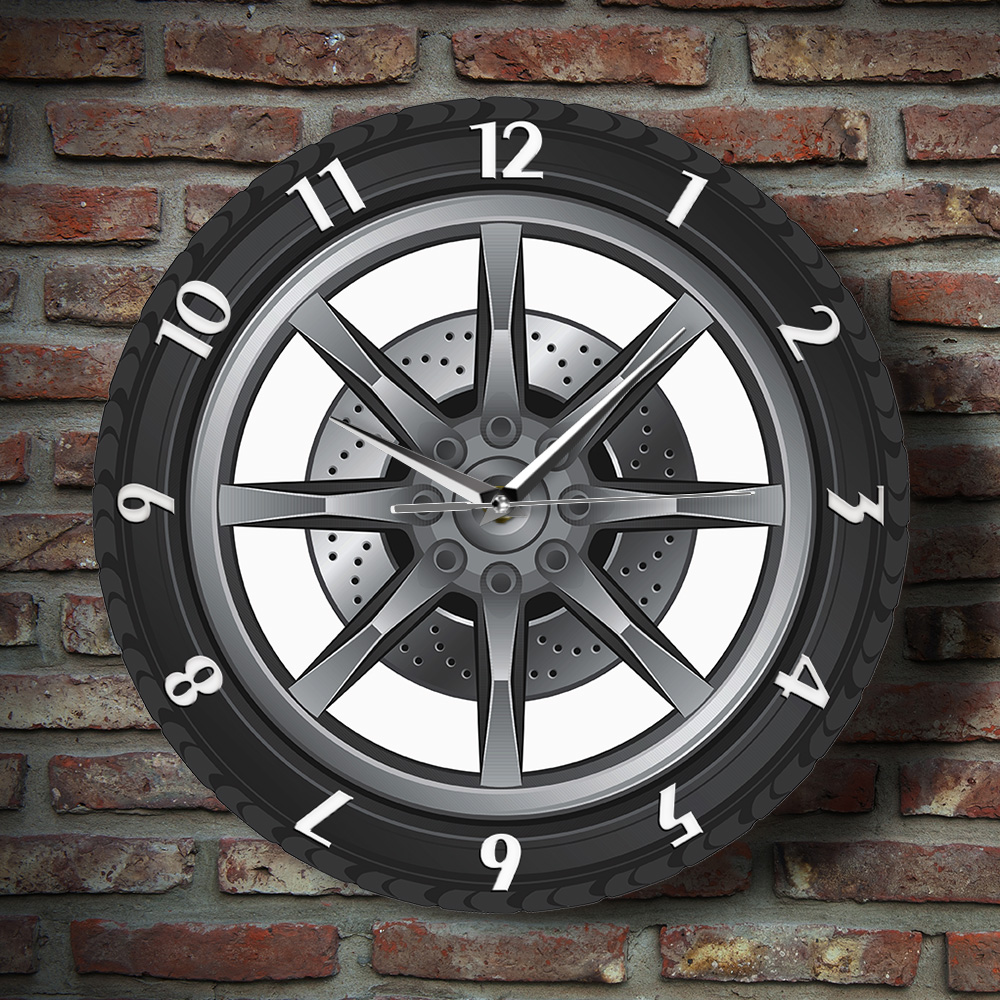 Custom Your Garage Name Car Service Repair Garage Acrylic Wall Clock Tire Wheel Auto Watch Vintage Mechanic Car Workshop Decor