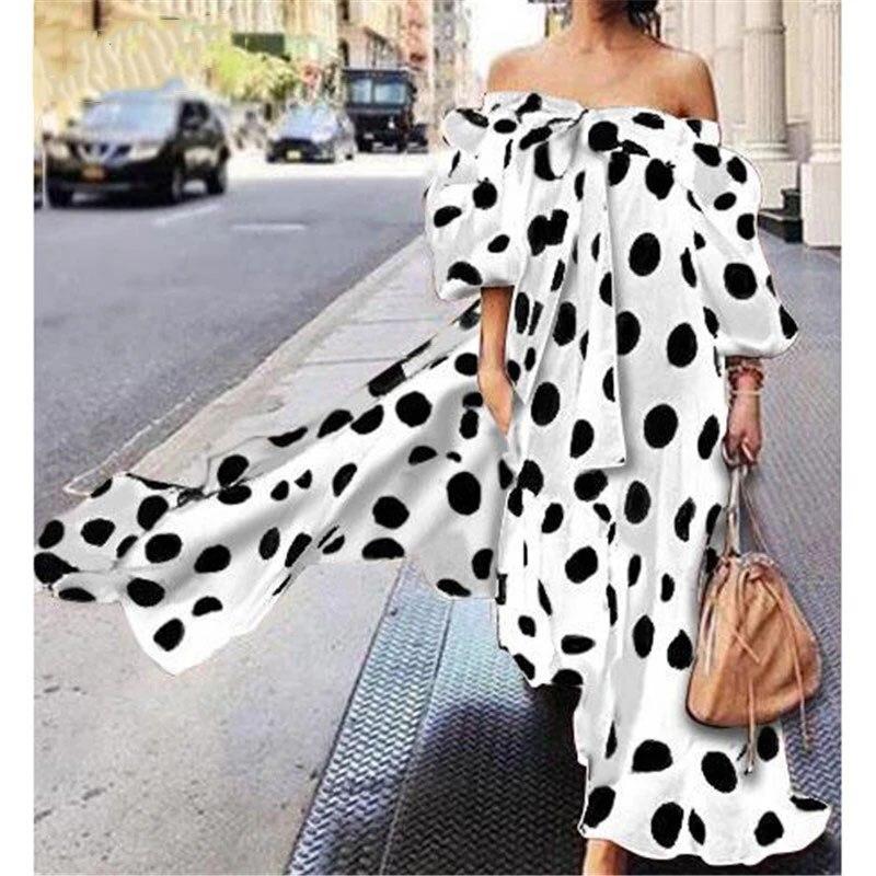 Women Polka Dot Print Dress Sexy Off Shoulder Bows Long The Vintage  Plus Size Loose