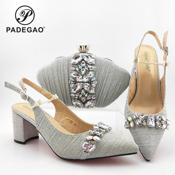 Comfortable Heels Lady Shoes and Bag to Match Fashionable New Arrivals African Lady Shoes and Bag in Silver Color for Wedding