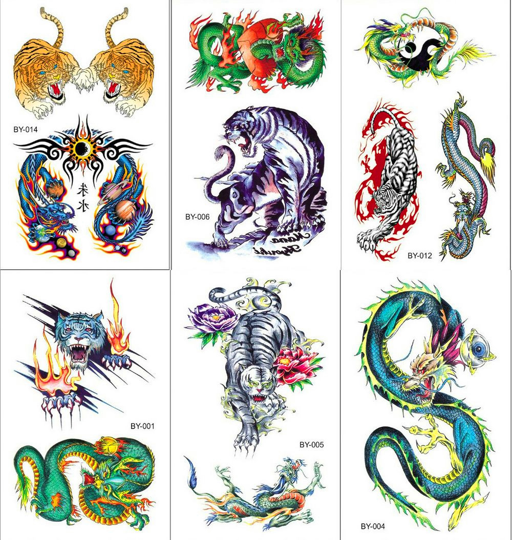 Snake And Dragon Waterproof Temporary Tattoo Sticker Tiger Animals Fashion Flash Tattoos Body Art Arm Hand Men Boy Fake Tatoo