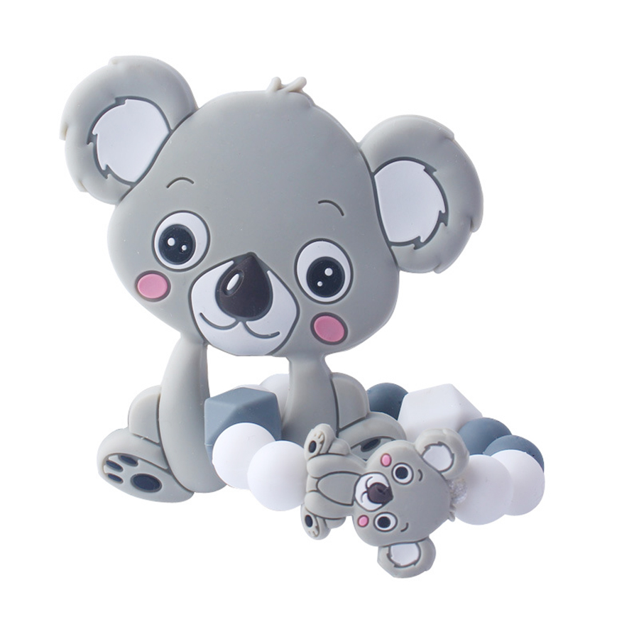 New Arrival Koala Style Baby Silicone Teether Food Grade Silicone Bracelet Siliconen Kralen Nursing Teething Beads Ring Animals