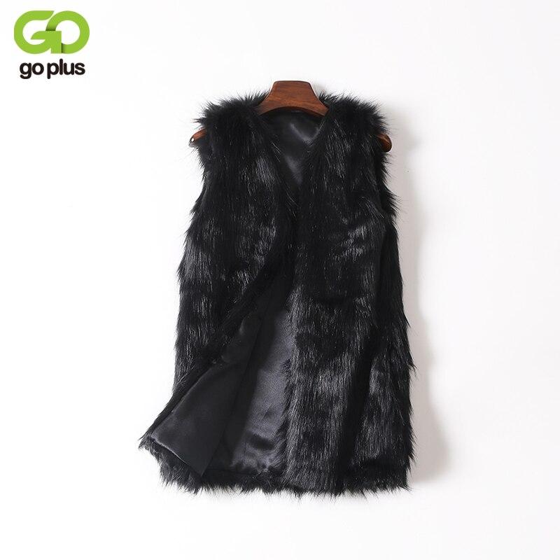 GOPLUS Winter Women's Faux Fur Coat Vest Plus Size Black V-Neck Luxury Faux Fake Fox Fur Vest Kamizelka Futerko Fourrure Femme