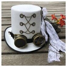 النساء الأبيض اليدوية Steampunk أفضل قبعة مع نظارات والعتاد و الدانتيل المرحلة قبعة سحرية أداء قبعة حجم 57 سنتيمتر Steampunk قبعة