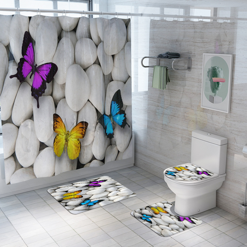 4 Pieces /set Of New Toilet Accessories Shower Curtain Panel Door Mat 3D Stone Toilet Lid Cover Curtain Seat Cushion Bathroom