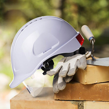 Cap Style Hard Hat with Protective Glasses, 8 Point Ratchet Suspension, Fluorescent Strip, Construction Helmets, Red, White