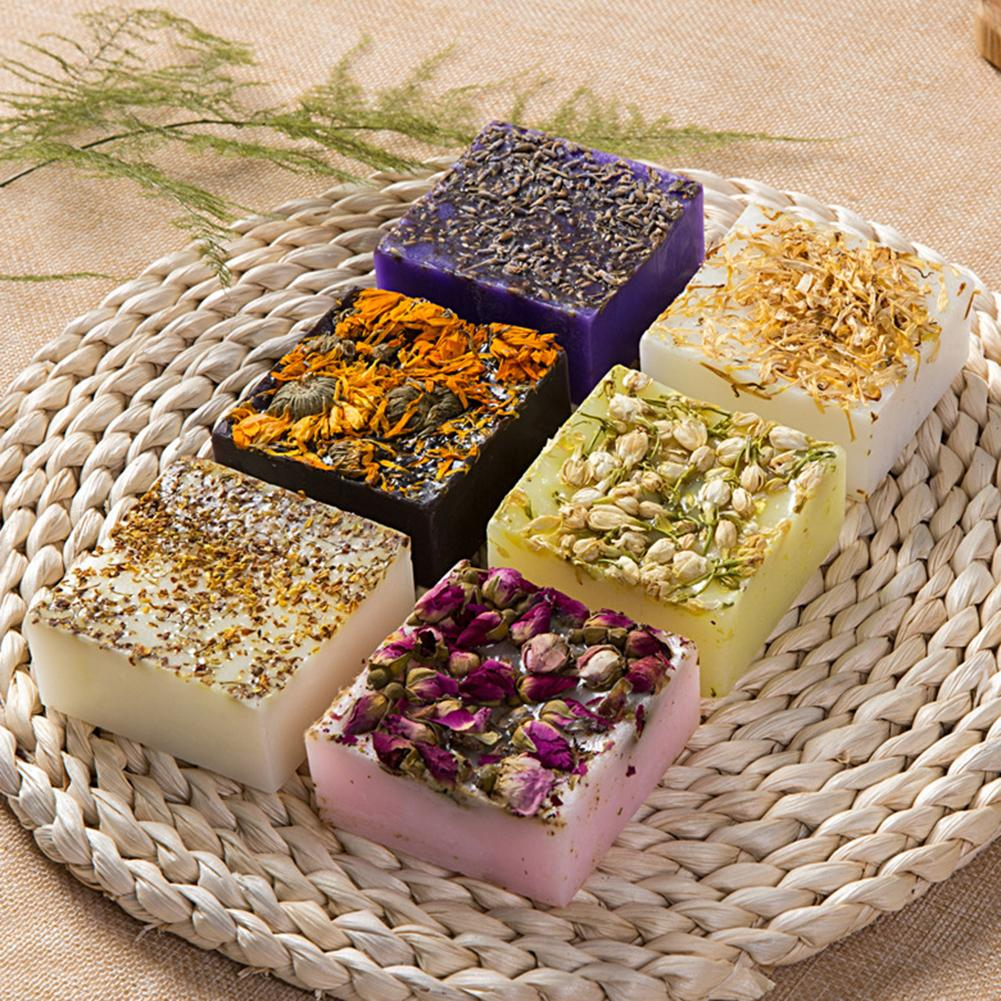 Dry Flower Essential Oil Face Hand Nourishing Skin Care Cleansing Handmade Soap Bath Soap random color