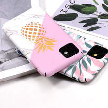 Funda para teléfono con estampado de hojas de flores 11Pro para iPhone 7 Plus XR XS Max piña mármol funda dura con letras para iPhone 6 Plus X 8(China)