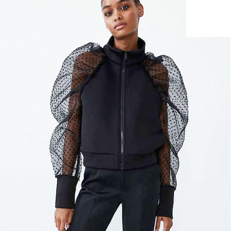Women Casual Sheer Mesh Long Puff Sleeve Hoodies Autumn Winter Ladies Zipper Coat Sweatshirts