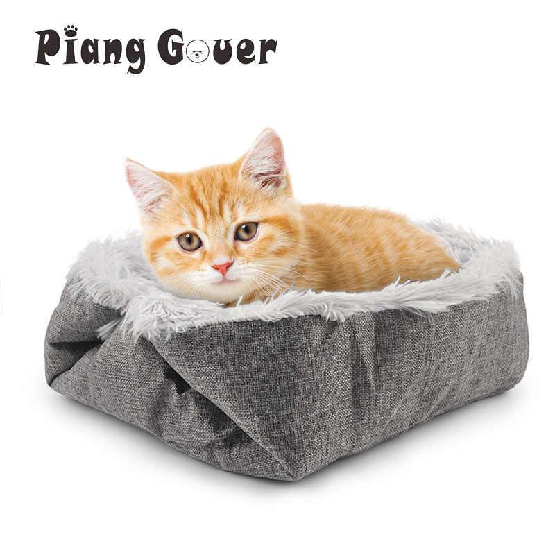 Animal de estimação cama gato casa inverno quente pet filhote de cachorro cães esteira para gatos gatinho dobrável macio cama do cão