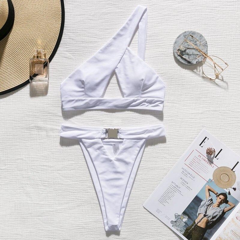 H0008af67cda04a5592e03d7374e89394O In-X One shoulder bikini 2019 Buckle high cut swimsuit Sexy thong bikini Hollow out bathing suit White push up swimwear women