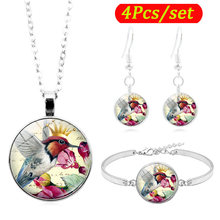 Hummingbird Photo Cabochon Kaca Perhiasan Set Silver Fashion Burung Kalung Gelang Anting-Anting Perhiasan Set untuk Wanita Hadiah(China)