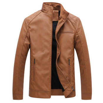 100% Quality Men Clothing Coat Jacket Real Leather Winter Male Jacket Motorcycle Zipper Stand Brown Genuine Leather Jacket Mens