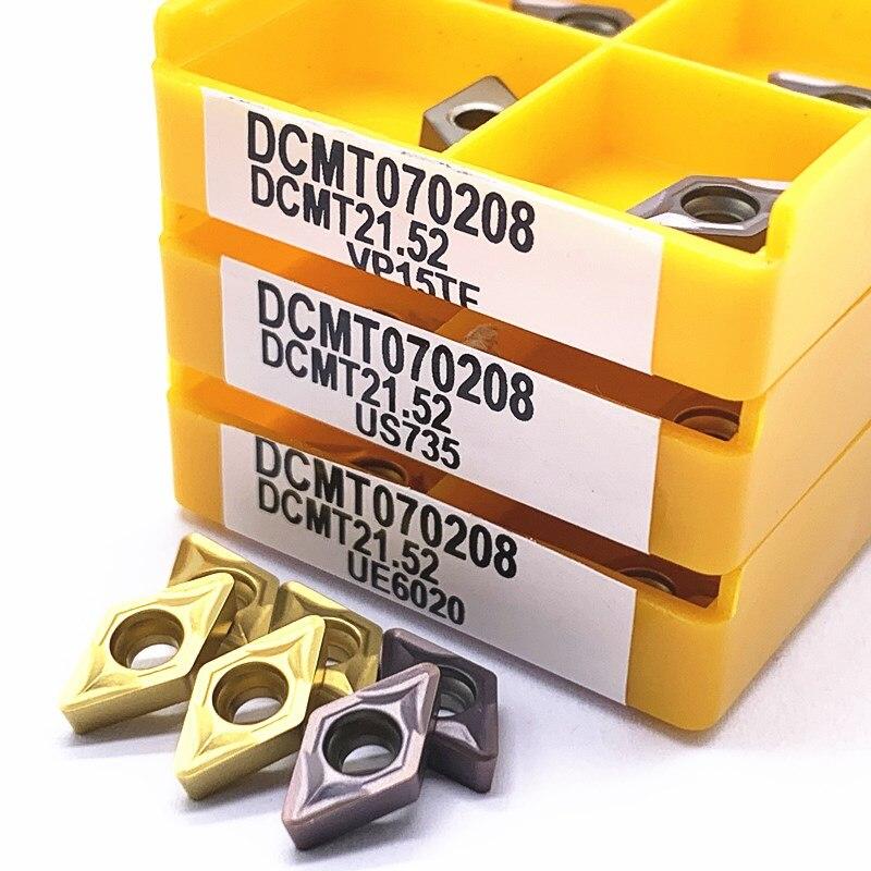 Купить с кэшбэком DCMT070204 DCMT070208 DCMT11T304 DCMT11T308 VP15TF UE6020 US735 carbide inserts Internal Turning tool CNC tool