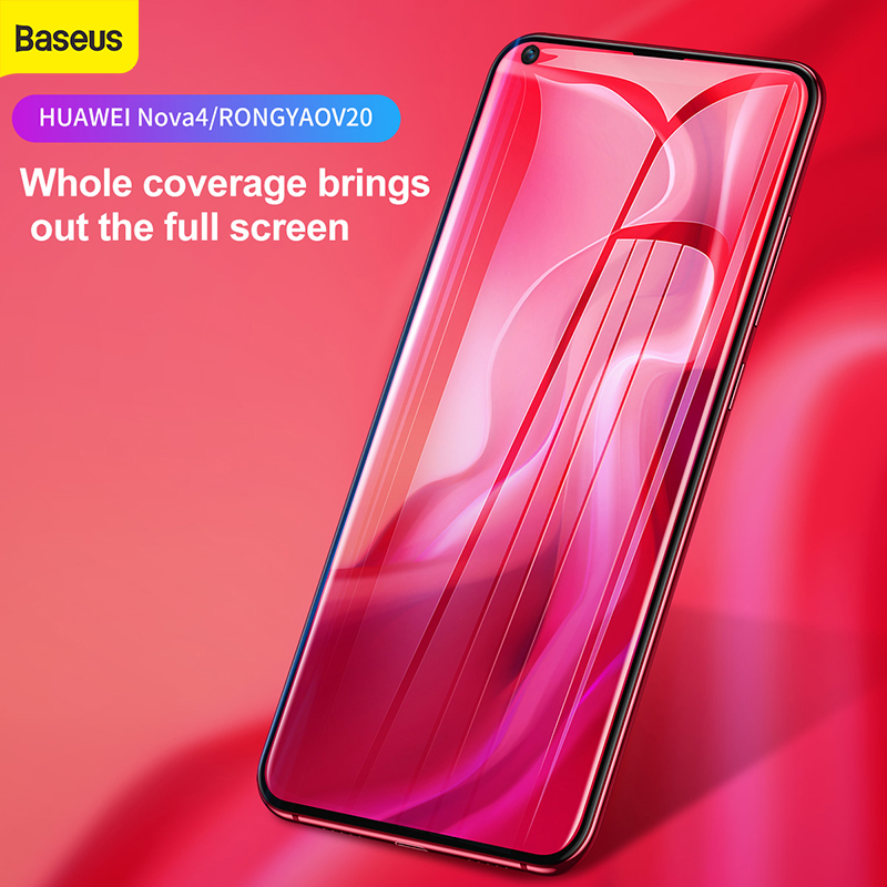 Baseus 0.3mm Curved Full Cover Glass Protection Tempered Glass For HUAWEI Nova 4 for Honor V20  Protective film Screem Protector|Phone Screen Protectors| |  - title=