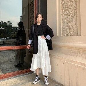 Image 3 - LANMREM jupe à volants irréguliers pour femmes, jupe élastique de couleur unie taille haute, plis irréguliers, Simple, mode, nouvelle collection automne 2020, TV518