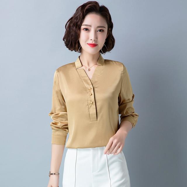 Korean Fashion Silk Women Blouses Satin Office Lady Shirt and Blouse Loose Long Sleeve Blusas Largas Plus Size Womens Tops 2