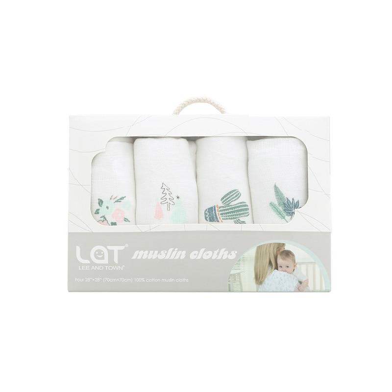4pc/box LAT Newborns Cotton Muslin Square Washable Premium Reusable Nappy Diapers Wipes Bath Cloth Towel Blanket Baby Boy Girls