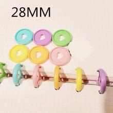 30 шт 28 мм цветное пластиковое кольцо для связывания с отверстием
