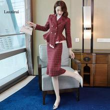 Women Red Tweed Formal Skirt Uniform Two Piece Skirts Suits Double Breasted Jack