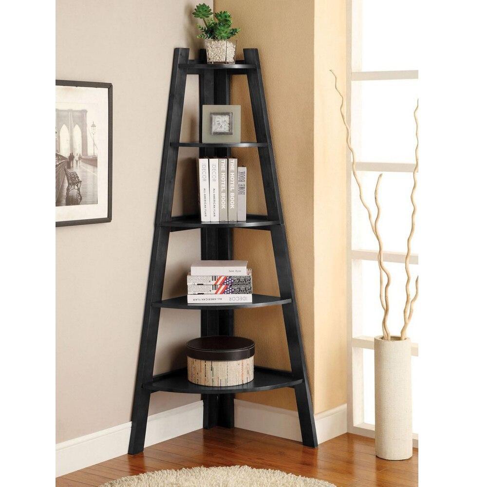 5 niveles estante de esquina soporte de madera de almacenamiento muebles para el hogar negro TB venta - 5